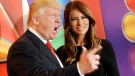 """""""Celebrity Apprentice"""" host Donald Trump and his wife Melania Trump arrive for the NBC network upfront presentation at Radio City Music Hall, Monday, May 14, 2012 in New York. (AP Photo/Evan Agostini)"""